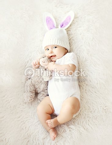fb1f14383eb Soft Photo Of Sweet Cute Baby In Hat Stock Photo