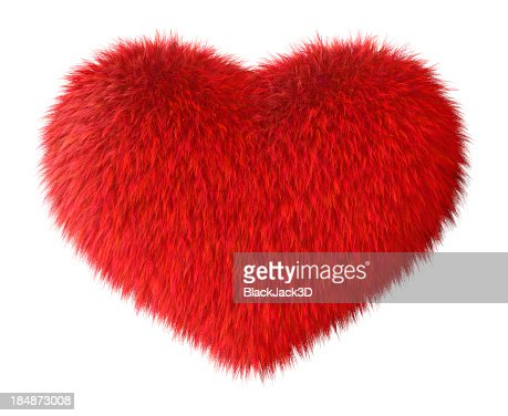 Soft red furry heart on white backdrop
