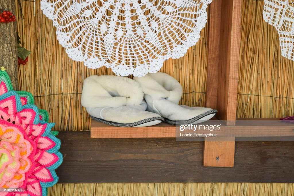 Soft room winter slippers : Stock Photo