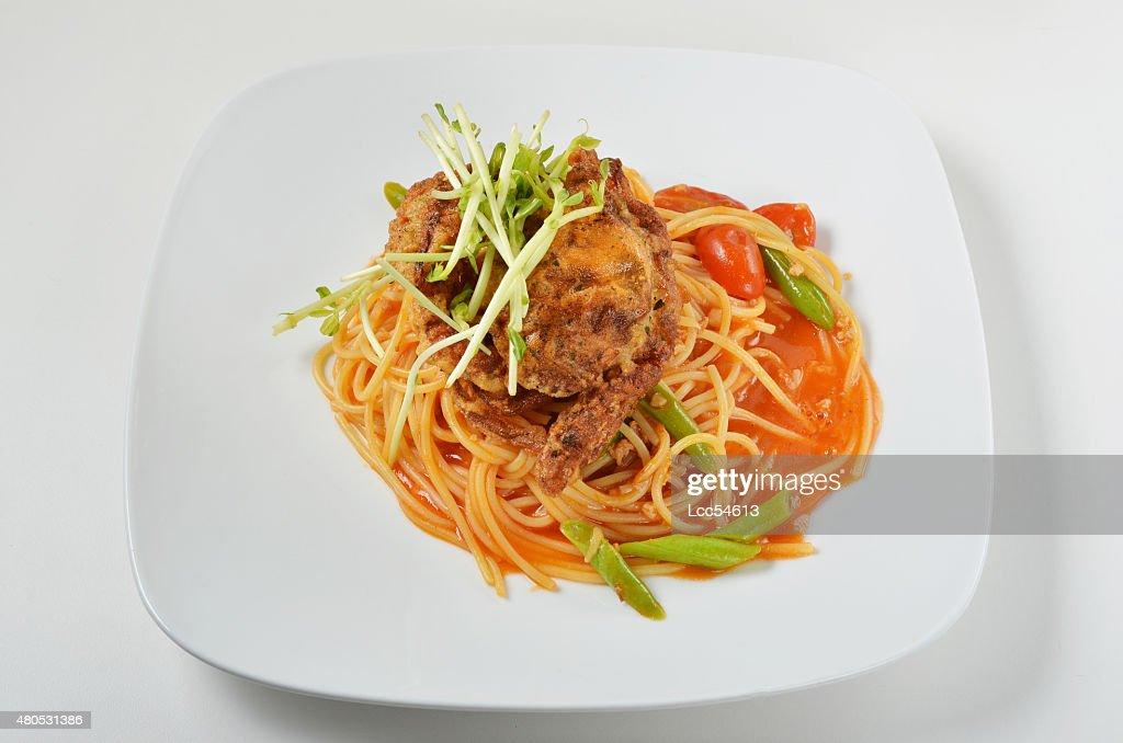 Granchio Soft shell spaghetti : Foto stock