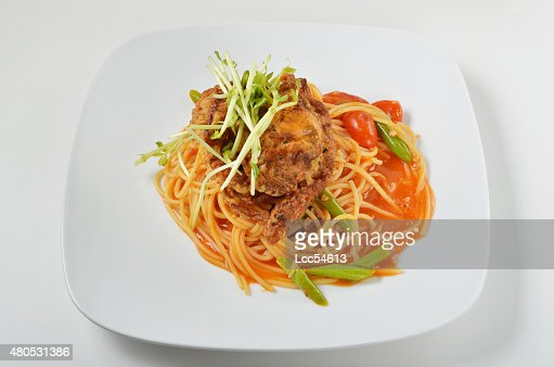 Granchio Soft shell spaghetti : Foto stock