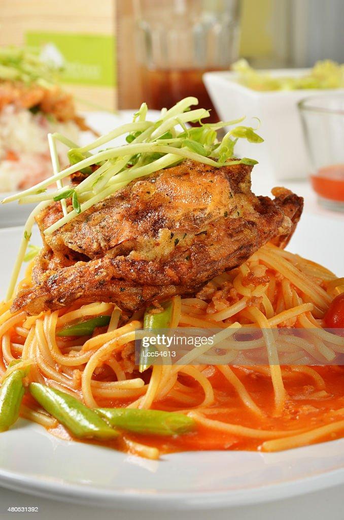 Soft shell crab spaghetti : Stock Photo