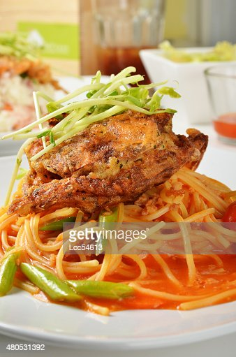 Soft shell crab spaghetti : Stock Photo
