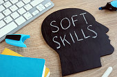 Soft skills written on a blackboard with the shape of a head.