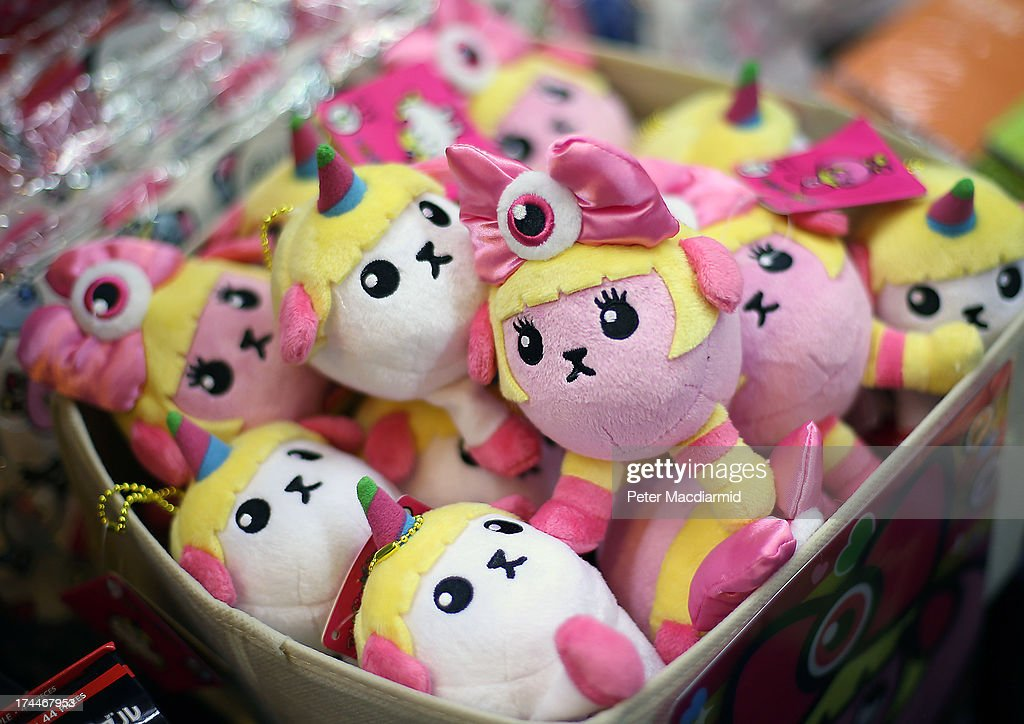 Soft toys are displayed for sale at the Hyper Japan event at Earls Court on July 26, 2013 in London, England. The show is the UK's biggest Japanese Culture event, with stalls selling clothing and artwork. Live music, Japanese food and computer gaming areas are also on show. Many attendees dress up as anime characters or in the lolita fashion widespread in Japan.