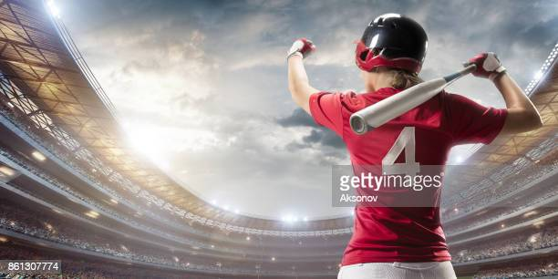 Softball female player on a professional arena