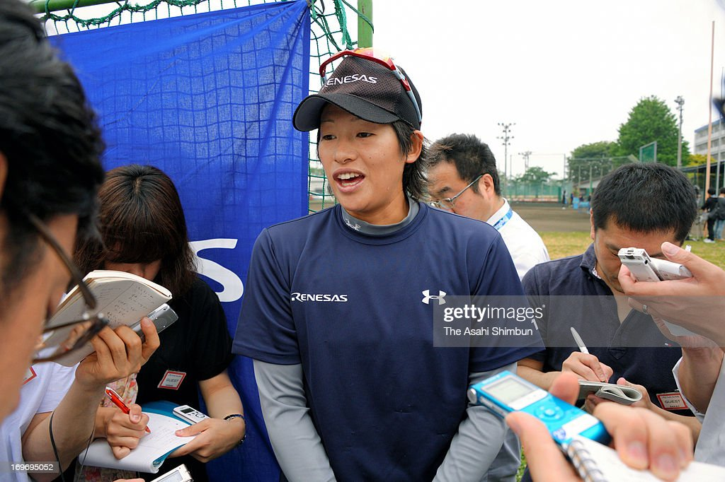 Softball player <a gi-track='captionPersonalityLinkClicked' href=/galleries/search?phrase=Yukiko+Ueno&family=editorial&specificpeople=2516932 ng-click='$event.stopPropagation()'>Yukiko Ueno</a> speaks to the media reporter after softball making shortlist for 2020 Olympic on May 30, 2013 in Takasaki, Gunma, Japan.