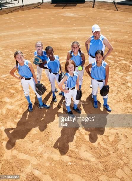 Softball players and coach