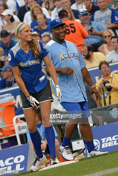 Softball's Gold Medalist Jennie Finch and Former MLB player Bo Jacksonattends the 2012 Taco Bell AllStar Legends Celebrity Softball Game at Kauffman...