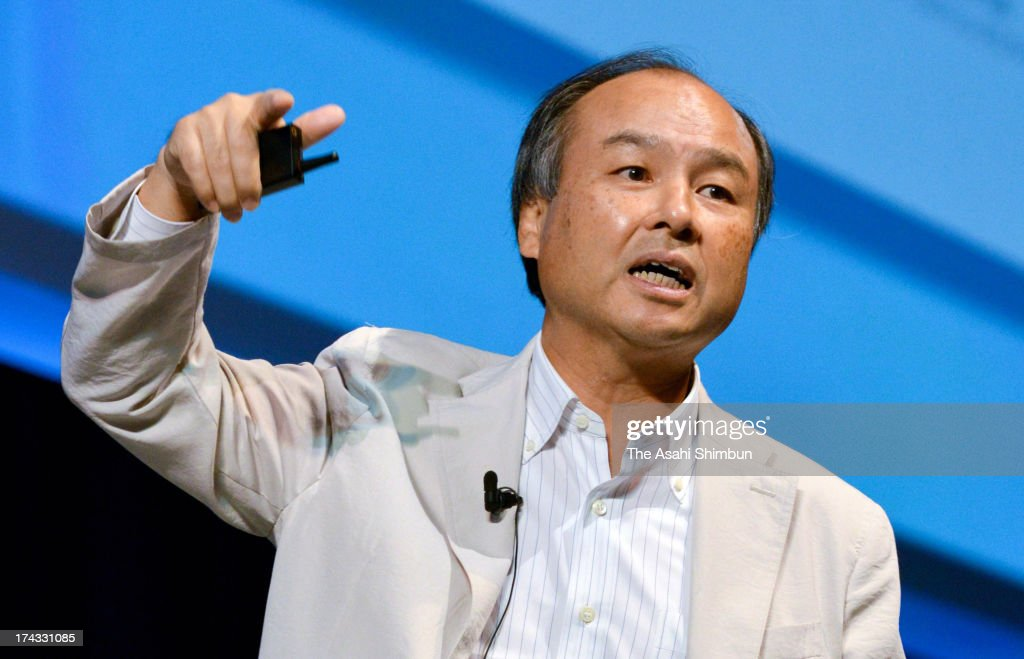 SoftBank Co Chairman and CEO <a gi-track='captionPersonalityLinkClicked' href=/galleries/search?phrase=Masayoshi+Son&family=editorial&specificpeople=632759 ng-click='$event.stopPropagation()'>Masayoshi Son</a> speaks during their SoftBankWorld 2013 on July 23, 2013 in Tokyo, Japan. Son announced the company completed the purchase of Sprint Nextel, third largest mobile phone carrier in the United States.