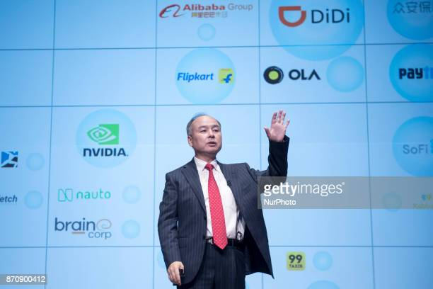 SoftBank Group Corp Chairman and CEO Masayoshi Son attends a news conference in Tokyo Japan February 8 2017 SoftBank Group Corp holds its earnings...