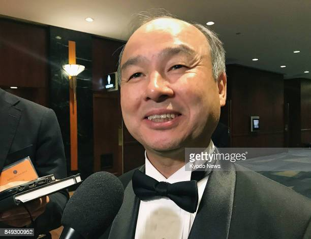 SoftBank Group Corp Chairman and CEO Masayoshi Son speaks to reporters in New York on Sept 18 2017 Son said the Japanese telecommunications services...