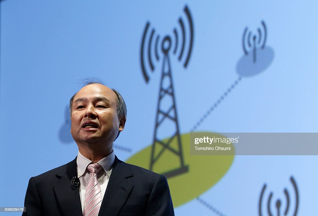 SoftBank Group Corp. Chairman and Chief Executive Officer <a gi-track='captionPersonalityLinkClicked' href=/galleries/search?phrase=Masayoshi+Son&family=editorial&specificpeople=632759 ng-click='$event.stopPropagation()'>Masayoshi Son</a> speaks during a press conference on February 10, 2016 in Tokyo, Japan. SoftBank reported its third-quarter earnings result today.
