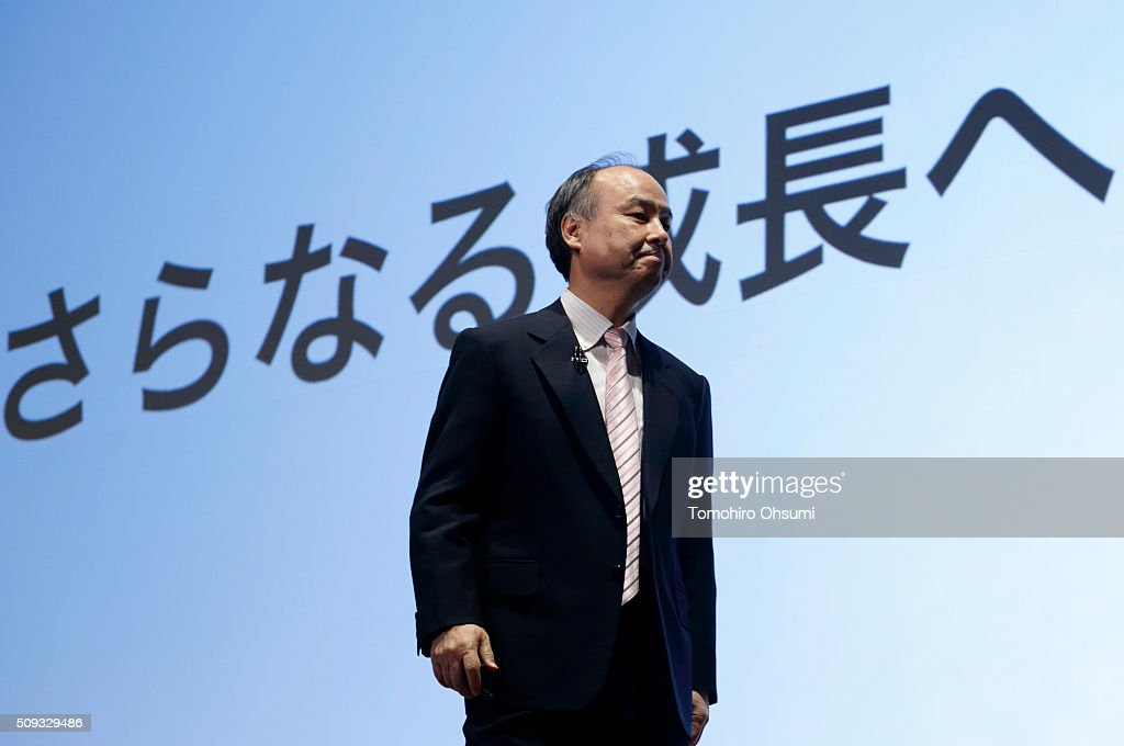 SoftBank Group Corp. Chairman and Chief Executive Officer <a gi-track='captionPersonalityLinkClicked' href=/galleries/search?phrase=Masayoshi+Son&family=editorial&specificpeople=632759 ng-click='$event.stopPropagation()'>Masayoshi Son</a> leaves a press conference on February 10, 2016 in Tokyo, Japan. SoftBank reported its third-quarter earnings result today.
