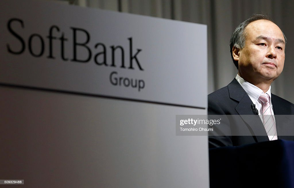 SoftBank Group Corp. Chairman and Chief Executive Officer <a gi-track='captionPersonalityLinkClicked' href=/galleries/search?phrase=Masayoshi+Son&family=editorial&specificpeople=632759 ng-click='$event.stopPropagation()'>Masayoshi Son</a> attends a press conference on February 10, 2016 in Tokyo, Japan. SoftBank reported its third-quarter earnings result today.
