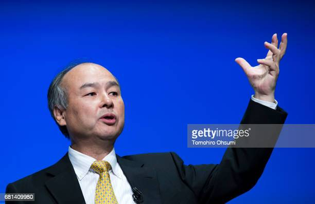 SoftBank Group Corp Chairman and Chief Executive Officer Masayoshi Son speaks during a press conference on May 10 2017 in Tokyo Japan SoftBank...