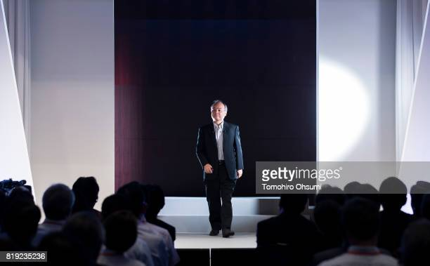 SoftBank Group Corp Chief Executive Officer Masayoshi Son arrives for the SoftBank World 2017 conference on July 20 2017 in Tokyo Japan With 70...