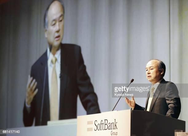 SoftBank Group Corp Chief Executive Officer Masayoshi Son attends a press conference at a Tokyo hotel on May 10 2017 SoftBank's group net profit in...