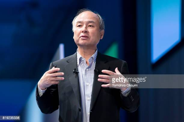 SoftBank Group Corp Chief Executive Officer Masayoshi Son delivers a keynote speech during the SoftBank World 2017 conference on July 20 2017 in...
