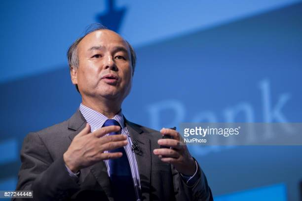 SoftBank Group Corp founder Chairman and CEO Masayoshi Son announces his group earnings during a press conference in Tokyo Japan 7 August 2017...