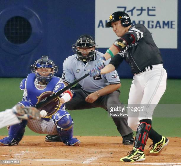 SoftBank Hawks star Seiichi Uchikawa singles in the gamewinner in the eighth inning in the Pacific League's 62 AllStar Game 1 victory over the...