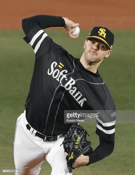SoftBank Hawks starter Rick van den Hurk pitches against the DeNA BayStars in Game 5 of the Japan Series at Yokohama Stadium south of Tokyo on Nov 2...