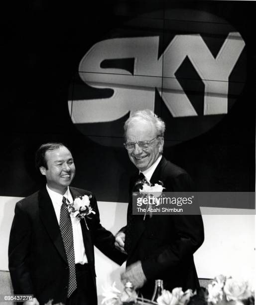 Softbank President Masayoshi Son and News Corporation President Rupert Murdoch attend a press conference of the JSkyB satellite broadcaster on...