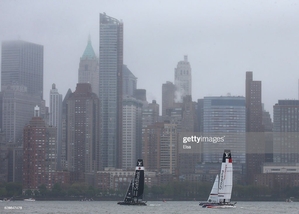 SoftBank Team Japan and Groupama Team France sail the course during the practice session for the Louis Vuitton America's Cup World Series on May 06, 2016 in New York City.