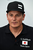 Softbank Team Japan CEO and skipper Dean Barker talks to the media during Day One of the Louis Vuitton America's Cup World Series on July 23 2015 in...