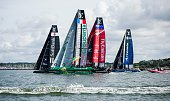 SoftBank Team Japan Groupama Team France Emirates Team New Zealand and Team Artemis Racing Sweden compete in the second and last day of races of the...