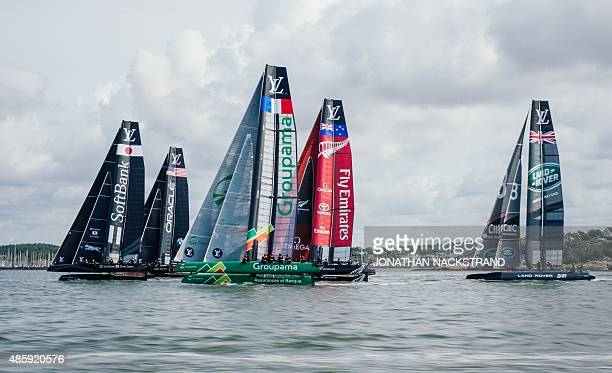 SoftBank Team Japan Oracle Team USA Groupama Team France Emirates Team New Zealand and Team Land Rover BAR Britain compete in the second and last day...