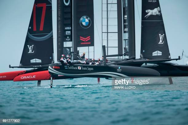 TOPSHOT SoftBank Team Japan skippered by Dean Barker V's and Oracle Team USA skippered by Jimmy Spithill compete during the 5th day of racing of the...