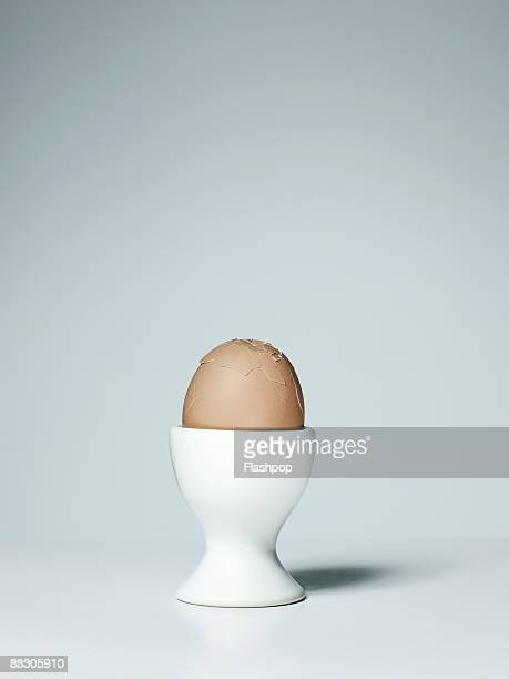 Soft-boiled egg in dish
