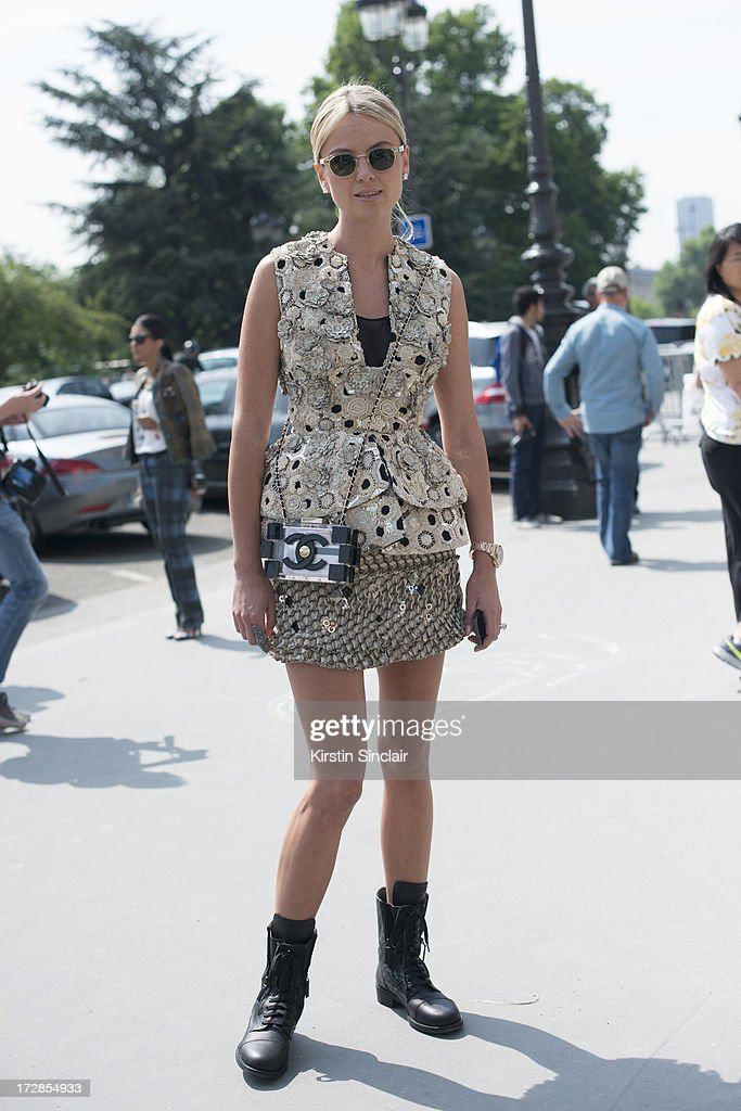Software Designer Inga Kozel wears Chanel bag and boots, Moscat sunglasses, Alexander Mcqueen couture top, Josef Statkus skirt on day 2 of Paris Collections: Womens Haute Couture on July 02, 2013 in Paris, France.