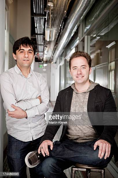 Software developers Drew Houston and Arash Ferdowsi cofounders of Dropbox the digital storage service are photographed for Forbes Magazine on October...