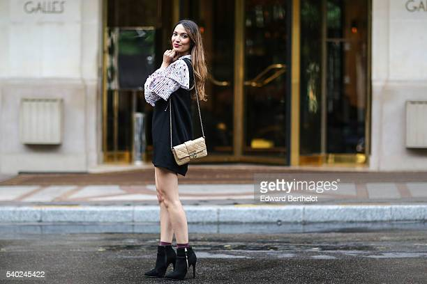 Sofya Benzakour is wearing a Sister Jane dress a Dior bag Primark shoes and Asos socks on June 14 2016 in Paris
