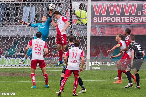 Sofyan Amrabat of FC Utrecht goalkeeper Filip Bednarek of FC Utrecht Giovanni Troupee of FC Utrecht Robin Gosens of Heracles Almelo Andreas Ludwig of...