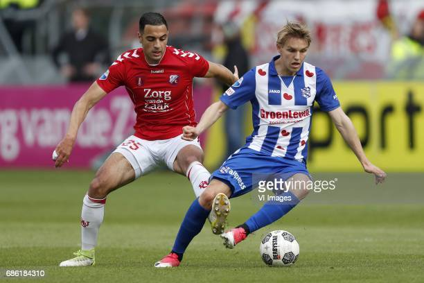 Sofyan Amrabat of FC Utrecht Martin Odegaard of sc Heerenveenduring the Dutch Eredivisie playoffs match between FC Utrecht and sc Heerenveen at the...