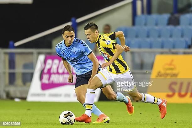 Sofyan Amrabat of FC Utrecht Mitchell van Bergen of Vitesse during the Dutch Eredivisie match between Vitesse Arnhem and FC Utrecht at Gelredome on...