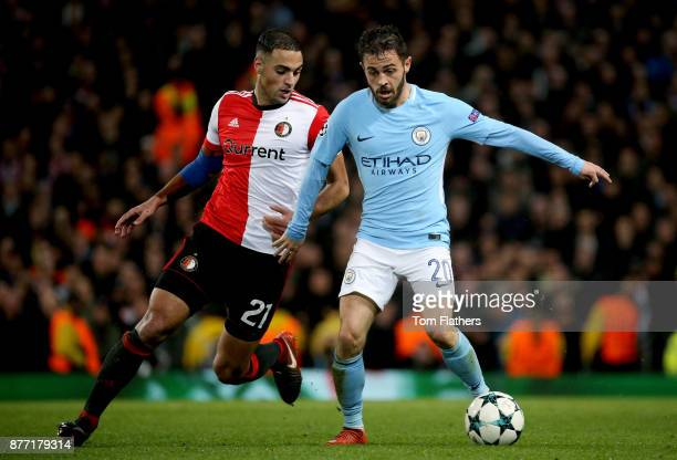 Sofyan Amrabat of Feyenoord and Bernardo Silva of Manchester City in action during the UEFA Champions League group F match between Manchester City...