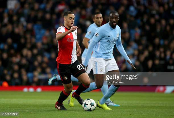 Sofyan Amrabat of Feyenoord and Yaya Toure of Manchester City in action during the UEFA Champions League group F match between Manchester City and...