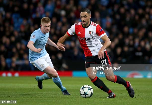 Sofyan Amrabat of Feyenoord is watched by Kevin De Bruyne of Manchester City during the UEFA Champions League group F match between Manchester City...