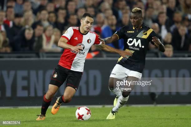 Sofyan Amrabat of Feyenoord Thierry Ambrose of NAC Breda during the Dutch Eredivisie match between Feyenoord Rotterdam and NAC Breda at the Kuip on...