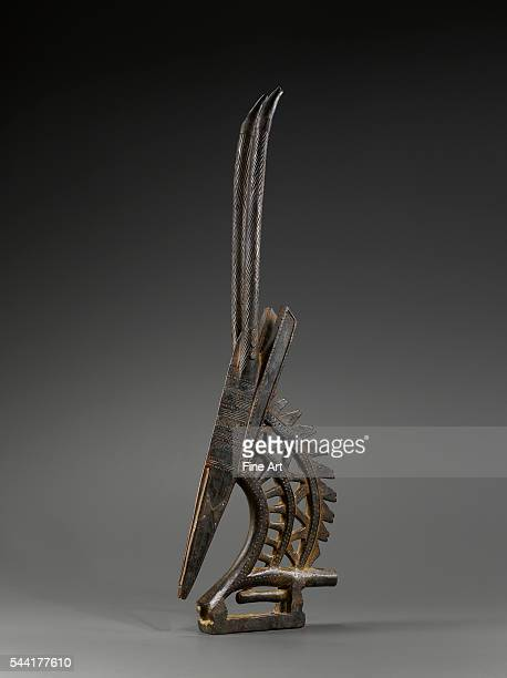 Sogoni Kun crest of the Chi Wara society Mali region of Segou 19th20th century Blackened wood and old patina Height 89 cm Located in a private...