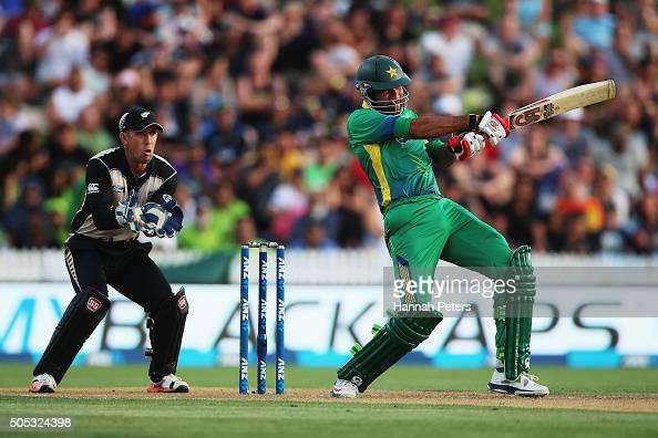 Sohaib Maqsood of Pakistan plays the ball away for four runs during the International Twenty20 match between New Zealand and Pakistan at Seddon Park...