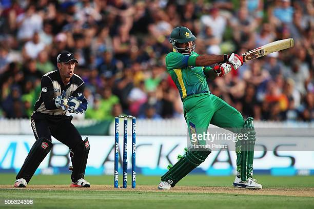 Sohaib Maqsood of Pakistan plays the ball away for four runs during the International Twenty20 match between New Zealand and Pakistan at Seddon Park...
