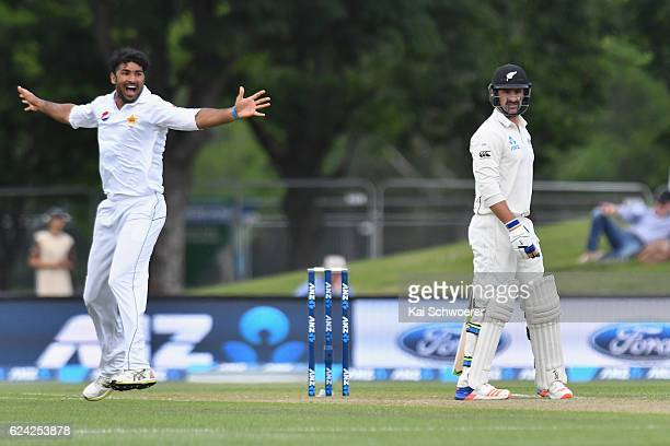 Sohail Khan of Pakistan appeals for the wicket of Colin de Grandhomme of New Zealand during day three of the First Test between New Zealand and...