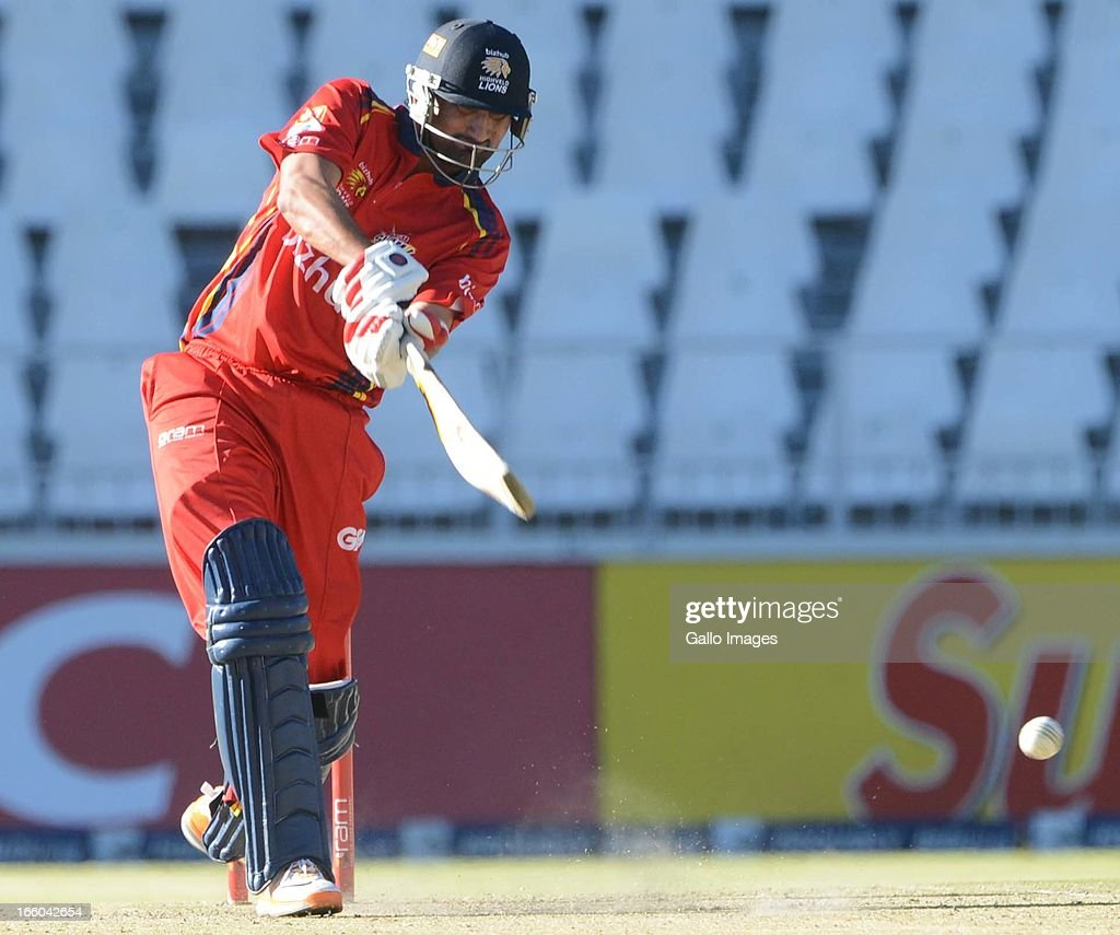 Sohail Tanveer of the Bizhub Highveld Lions hits out during the 2013 RAM Slam T20 Challenge Final between Bizhub Highveld Lions and Nashua Titans at Bidvets Wanderers Stadium on April 07, 2013 in Johannesburg, South Africa.