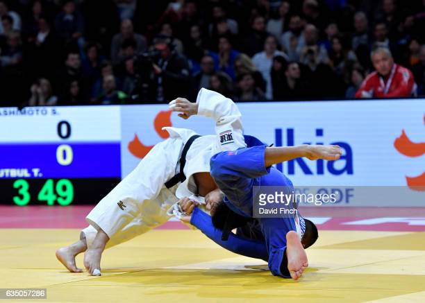 Soichi Hashimoto of Japan defeated Tohar Butbul of Israel by 2 wazaris to reach the u73kg final and win the gold medal during the 2017 Paris Grand...