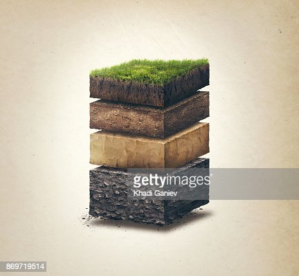 Soil layers. Cross section soil layers. 3D illustration, light background : Stock Photo